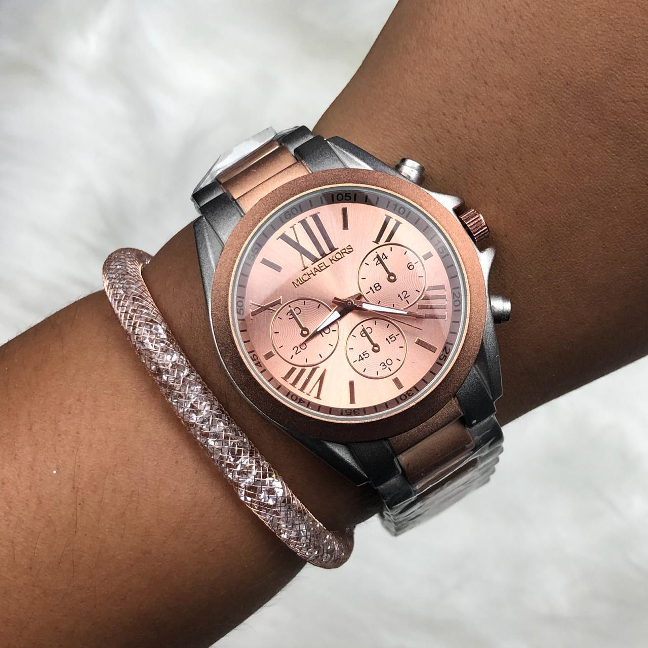 Relógio Feminino Rose e Prata Fosco Fundo Rose + Pulseira Solitária  Pedrarias 11e6b97ede