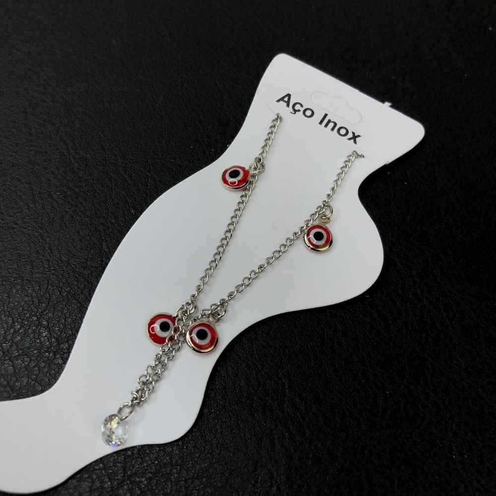 Tornozeleira feminina de aço inoxidável 316L prata olho grego vermelho ponto de luz