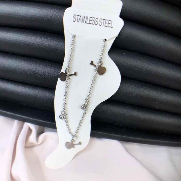 Tornozeleira feminina de aço inoxidável 316L prata violão com esferinhas