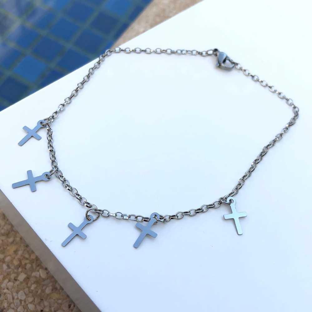 Tornozeleira feminina de aço inoxidável pingentes de cruz