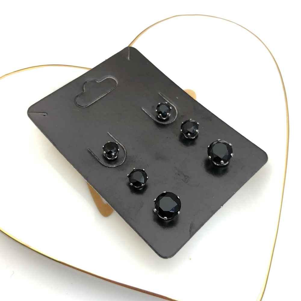 Trio de brincos em aço inox primeiro, segundo e terceiro furo bolinha preta