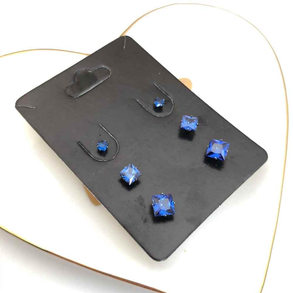 Trio de brincos em aço inox primeiro, segundo e terceiro furo quadradinho azul marine