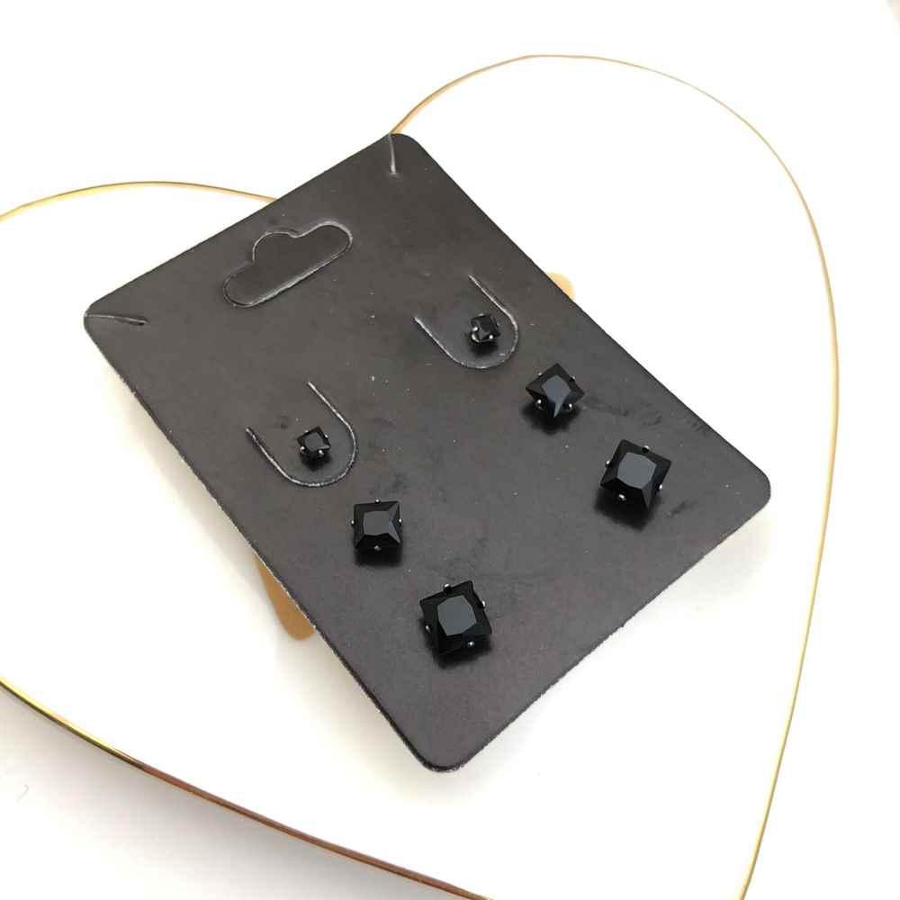 Trio de brincos em aço inox primeiro, segundo e terceiro furo quadradinho preto