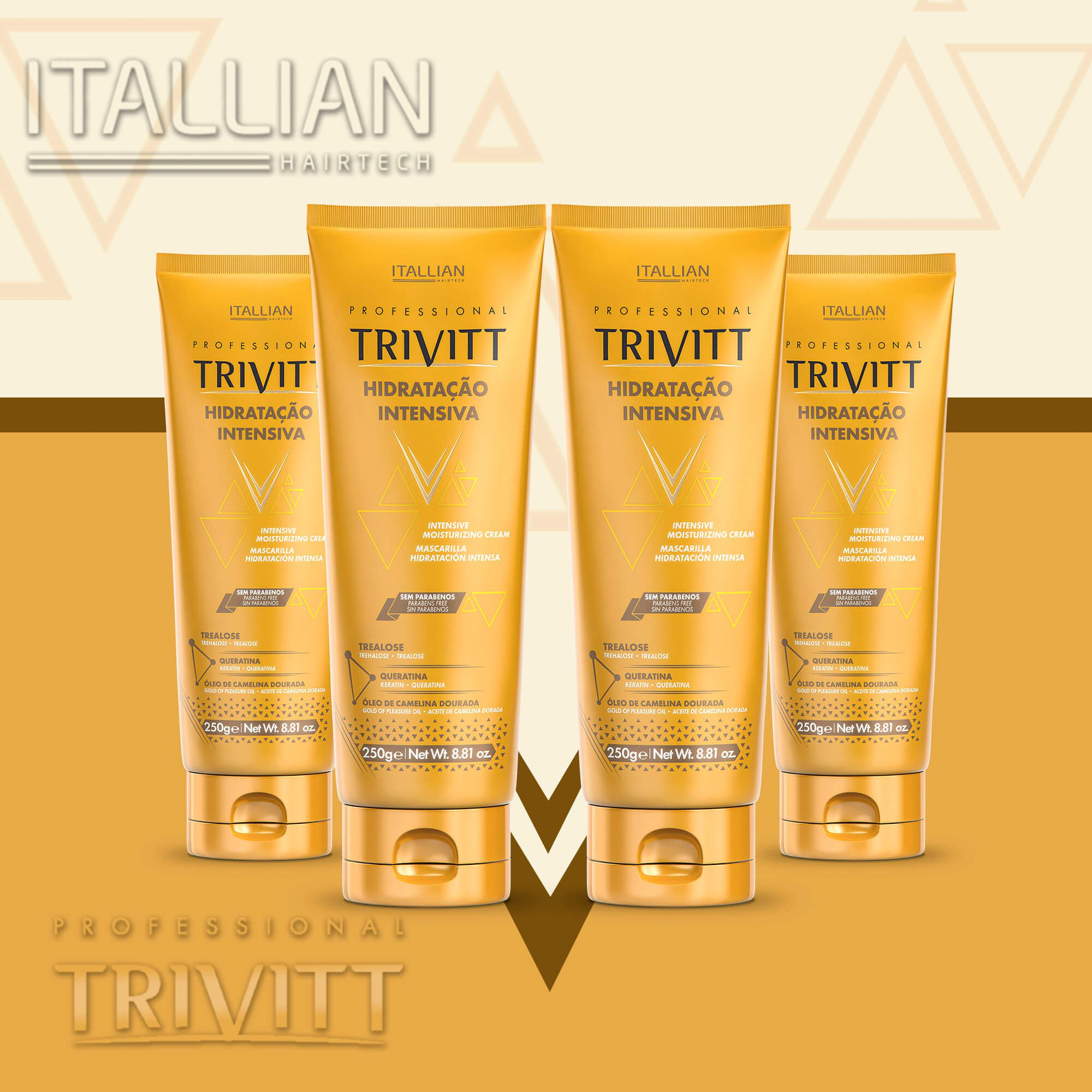 04 Máscaras Hidratação Intensiva Trivitt 250 Gramas + Brinde