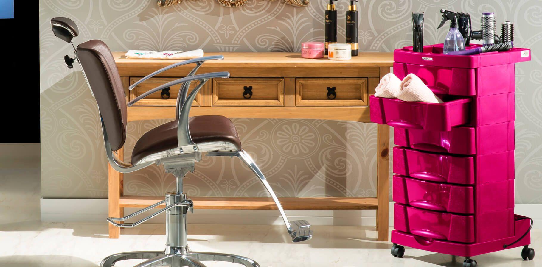 Carrinho Auxiliar Para Cabeleireiro Dompel Beauty - Rosa