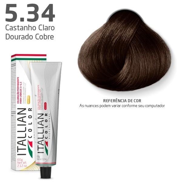 COLORAÇÃO ITALLIAN COLOR 60G CASTANHO CLARO DOURADO COBRE 5.34