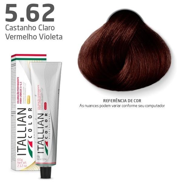 COLORAÇÃO ITALLIAN COLOR 60G CASTANHO CLARO VERMELHO VIOLETA 5.62