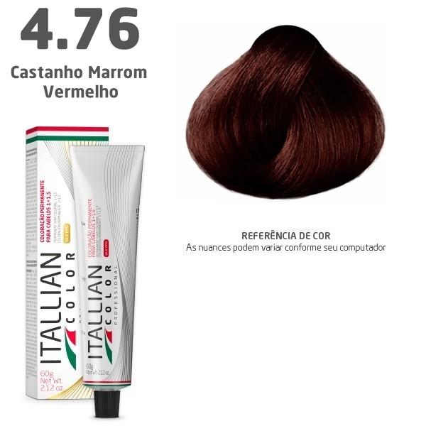 COLORAÇÃO ITALLIAN COLOR 60G CASTANHO MARROM VERMELHO 4.76