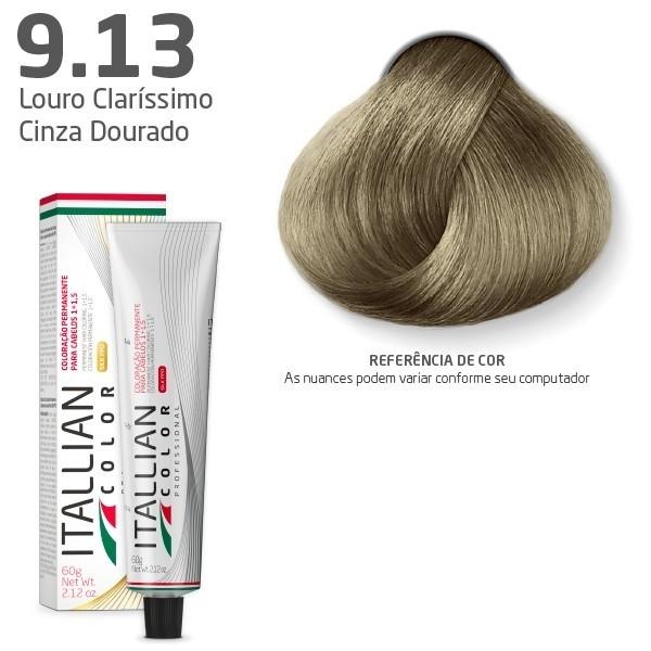 COLORAÇÃO ITALLIAN COLOR 60G LOURO CLARRISSIMO CINZA DOURADO 9.13