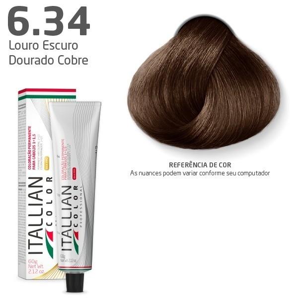 COLORAÇÃO ITALLIAN COLOR 60G LOURO ESCURO DOURADO COBRE 6.34