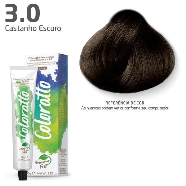 COLORAÇÃO SEM AMÔNIA COLORATTO 60G CASTANHO ESCURO 3.0