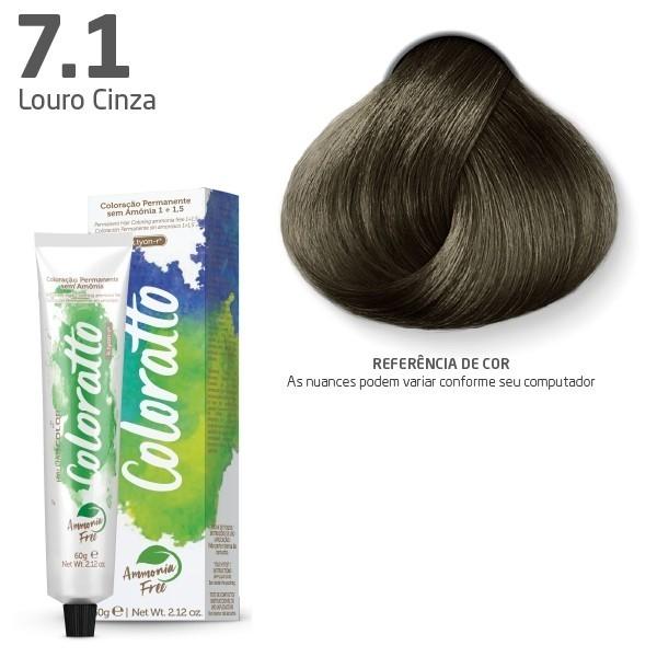 COLORAÇÃO SEM AMÔNIA COLORATTO 60G LOURO CINZA 7.1