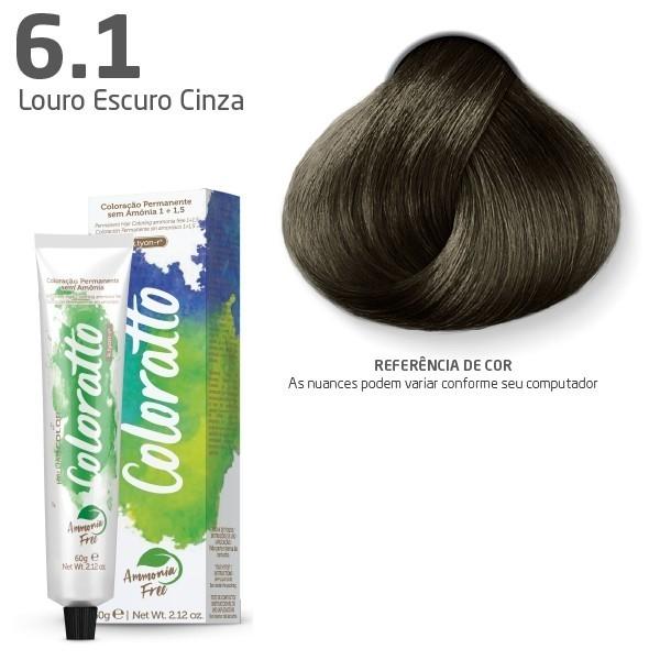 COLORAÇÃO SEM AMÔNIA COLORATTO 60G LOURO ESCURO CINZA 6.1