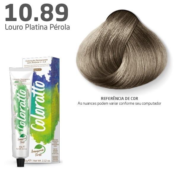 COLORAÇÃO SEM AMÔNIA COLORATTO 60G LOURO PLATINA PÉROLA 10.89