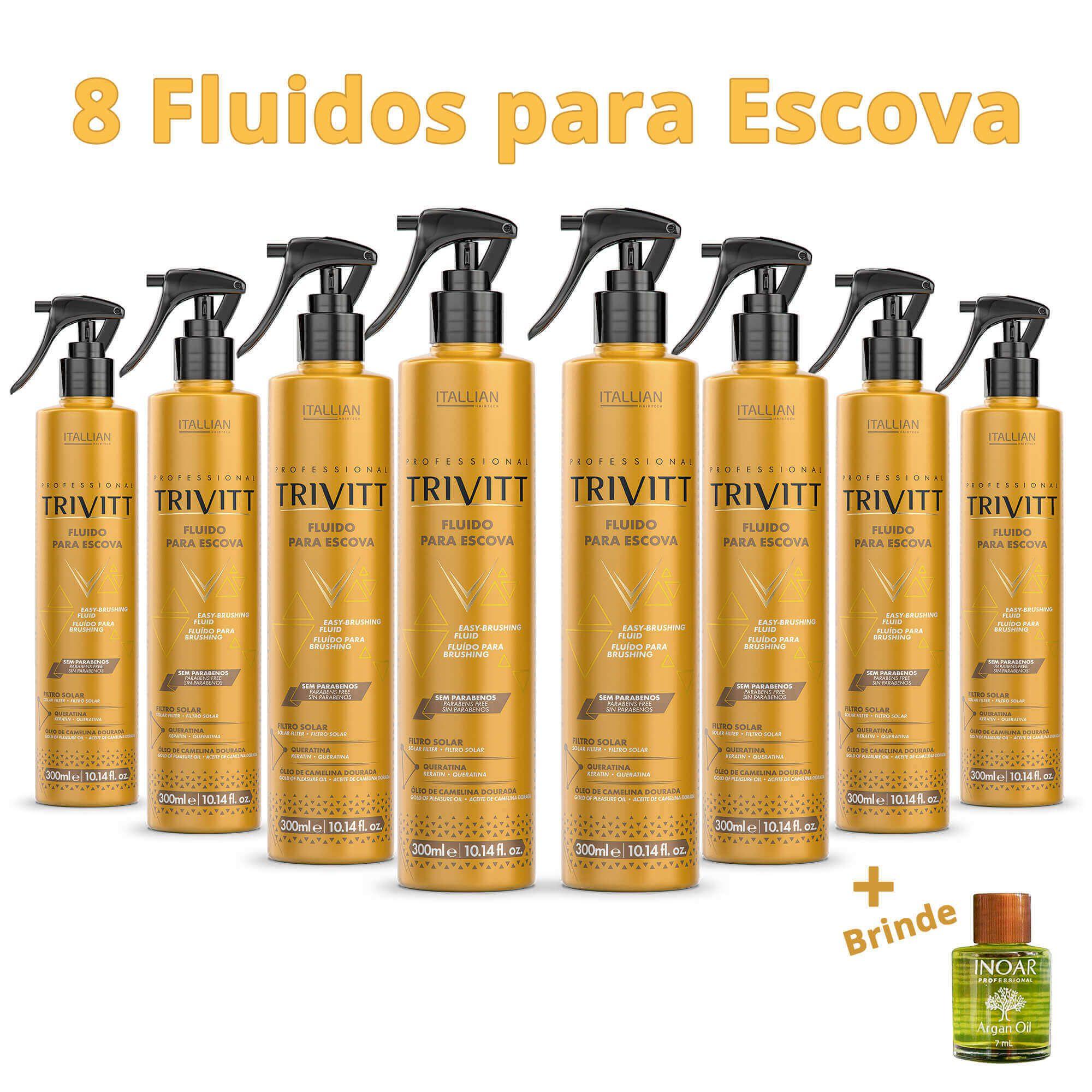 Combo 8 Fluido Para Escova Trivitt 300ml Itallian + Brinde