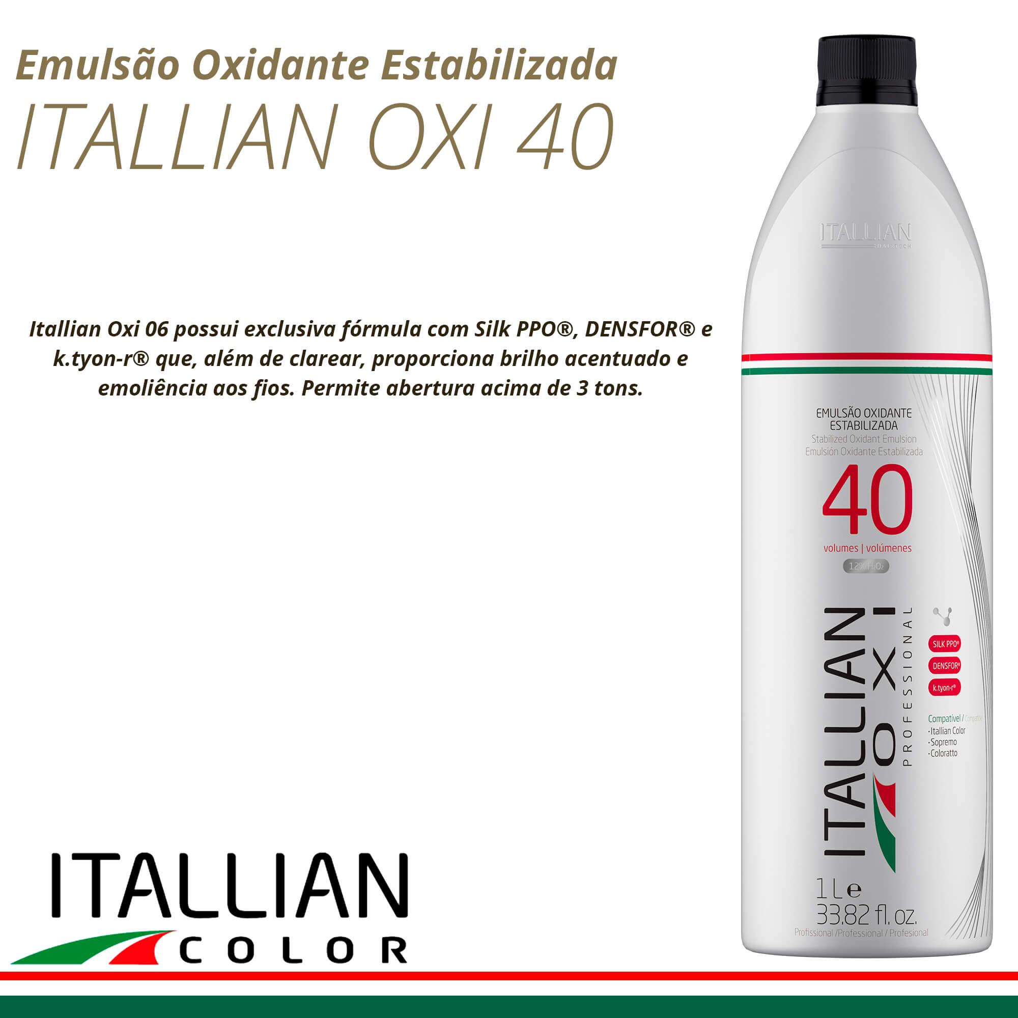 Emulsão Oxidante Estabilizada Itallian Oxi 40 Volumes 1l