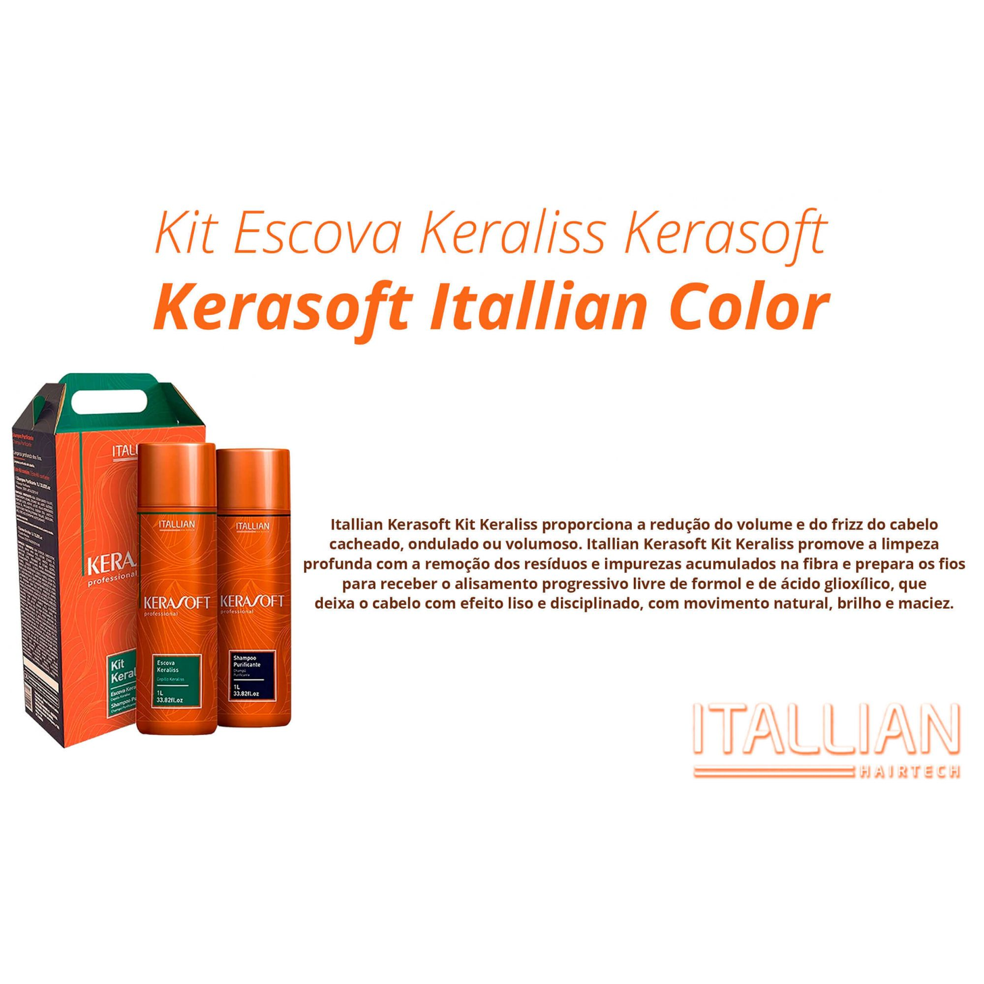 Kit Escova Keraliss Kerasoft Itallian Color + Brindes
