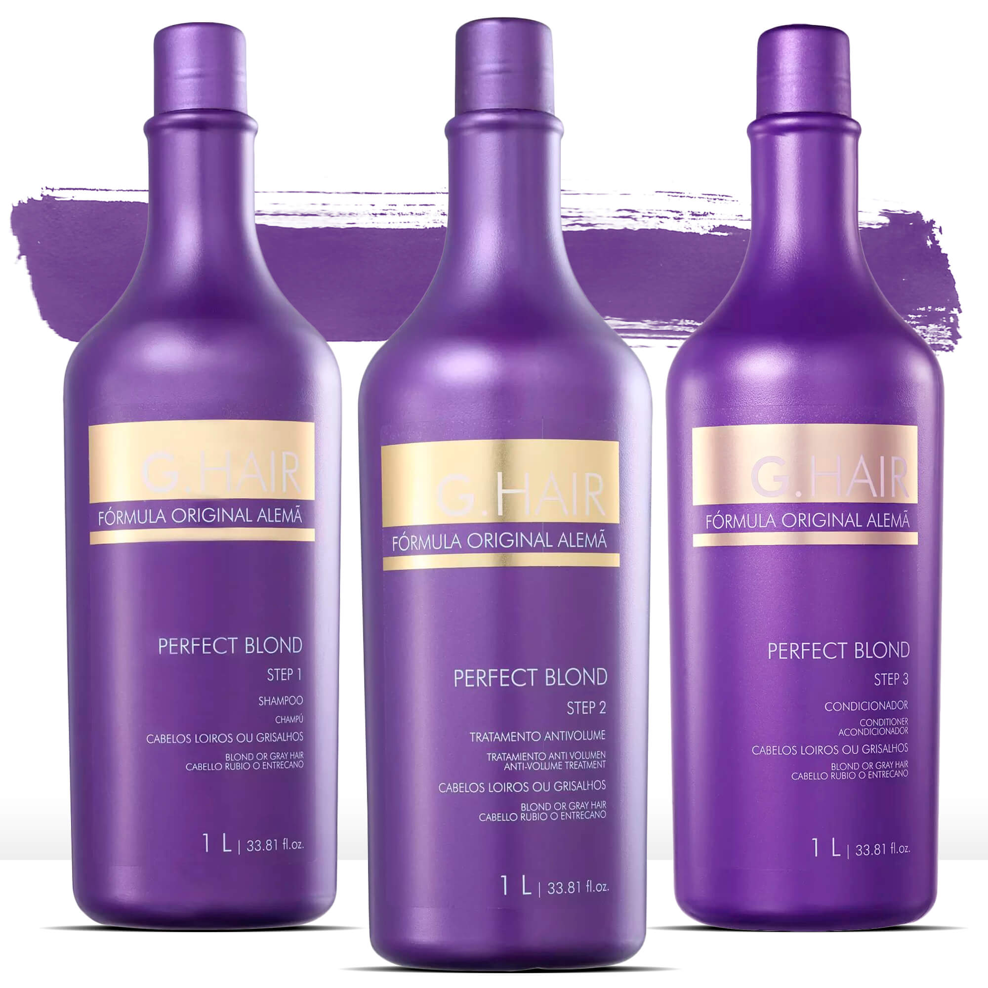 Kit G Hair Perfect Blond Escova Progressiva 3x1001ml
