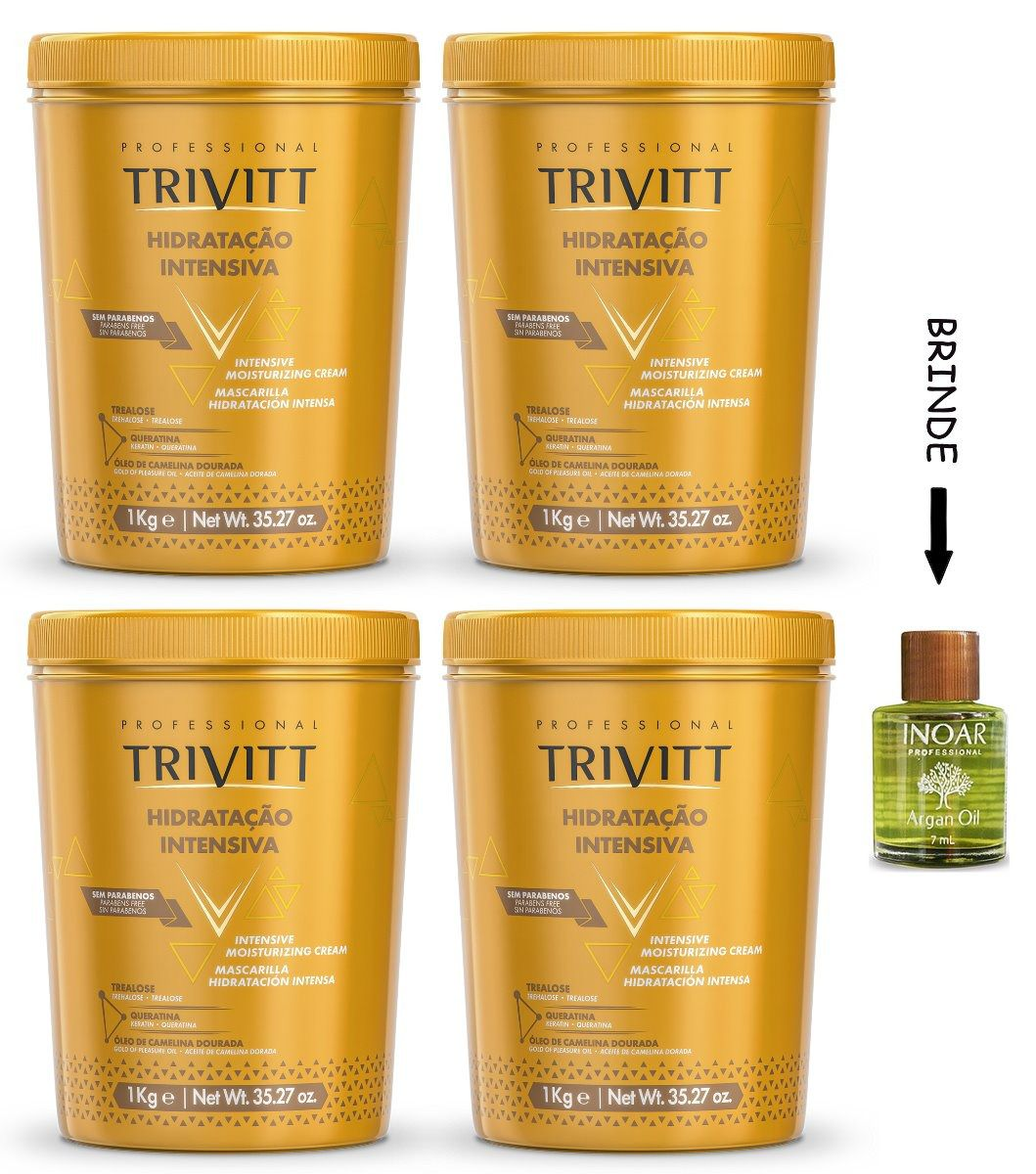 Máscara Hidratação Intensiva Trivitt 1kg - 4 Un + Brinde