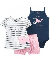 Conjunto Body, Blusinha e Shorts - Baleia - Carter's