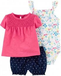 Conjunto Body, Blusinha e Shorts - Floral - Carter's