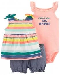Conjunto Body, Blusinha e Shorts - Listras Coloridas - Carter's