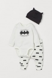 Conjunto Body, Calça e Touca - Batman - H&M Disney