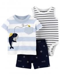 Conjunto Body, Camiseta e Shorts - Baleia - Carter's
