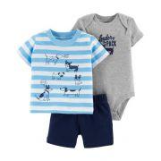 Conjunto Body, Camiseta e Shorts - Cachorros - Carter's