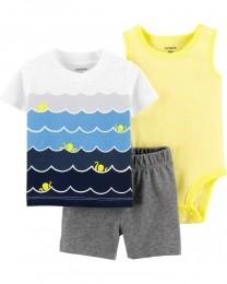 Conjunto Body, Camiseta e Shorts - Ondas - Carter's