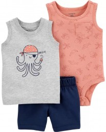Conjunto Body, Camiseta e Shorts - Polvo - Carter's