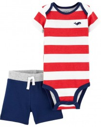 Conjunto Body Regata e Shorts - Baleia - Carter's