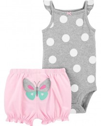 Conjunto Body Regata e Shorts - Borboleta - Carter's