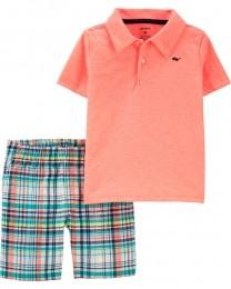 Conjunto Camisa Polo e Shorts - Óculos - Carter's