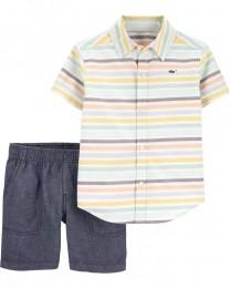 Conjunto Camisa Social e Shorts - Listras - Carter's