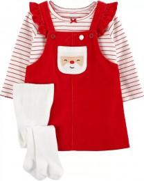 Conjunto Jardineira, Camiseta e Meia Calça - Natal - Carter's - Sob Encomenda