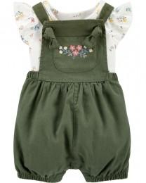 Conjunto Jardineira e Body - Floral Verde - Carter's