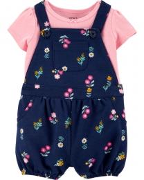 Conjunto Jardineira e Camiseta - Floral Azul  - Carter's