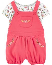 Conjunto Jardineira e Camiseta - Floral Rosa  - Carter's