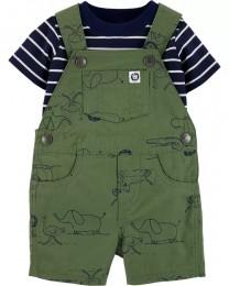 Conjunto Jardineira e Camiseta - Safari - Carter's