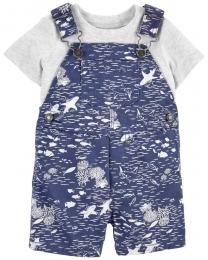 Conjunto Jardineira e Camiseta - Tubarão - Carter's