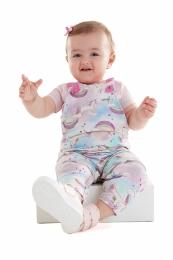 Conjunto Jardineira e Camiseta - Unicórnio - Up Baby