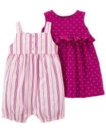 Conjunto Vestido E Romper - Listras e Bolinhas - Carter's