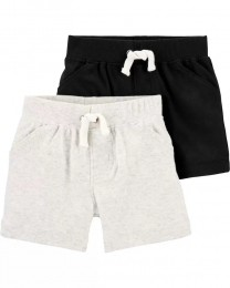 Kit com 2 Shorts - Cinza e Preto - Carter's