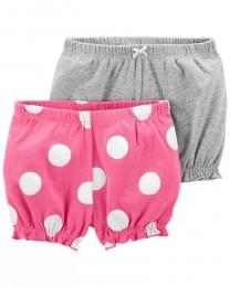 Kit com 2 Shorts - Rosa e Cinza - Carter's