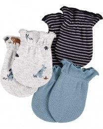 Kit Com 3 Pares de Luva - Azul - Carter's
