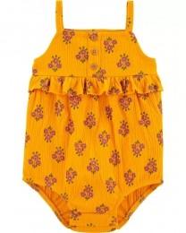 Macacão Curto Romper - Floral Amarelo - Carter's