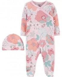 Pijama Com Touca - Floral - Carter's