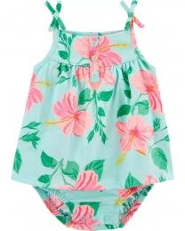 Vestido - Floral Verde - Carter's