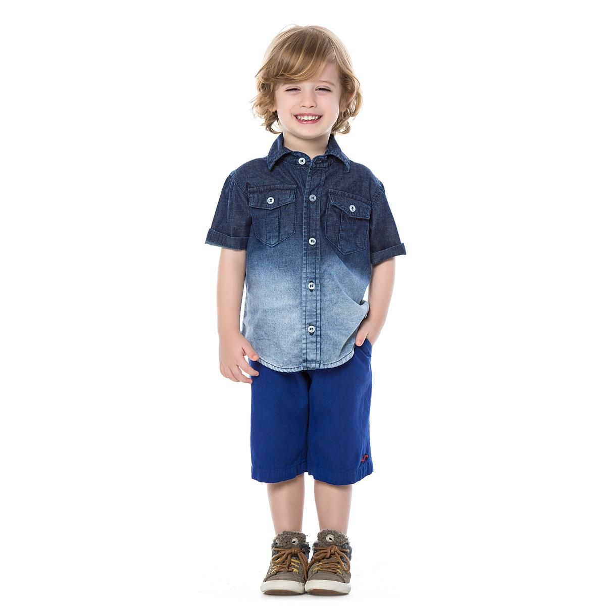 0b70837653 Camisa Jeans Manga Curta - Degradê Gijo Kids